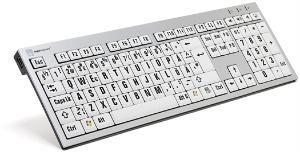 Tangentbord med stor svart text med vit bakgrund PC