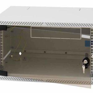"""19"""" 4U Väggskåp i kompakt design med låsbar glasdörr"""